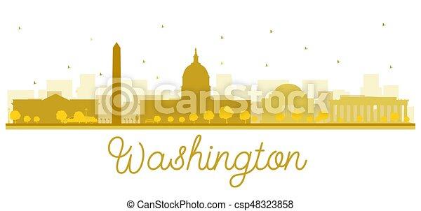 Washington dc city skyline golden silhouette. - csp48323858