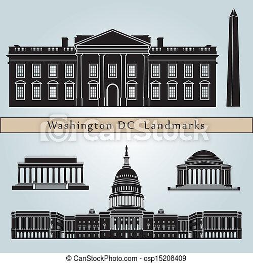 Washington DC landmarks and monuments - csp15208409