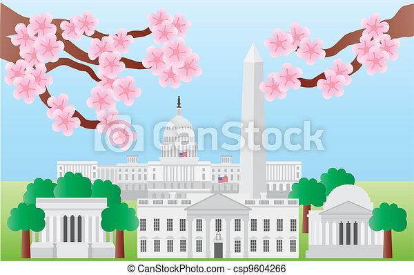 Washington DC Landmarks with Cherry Blossom - csp9604266