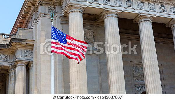 Washington DC Monuments with USA. - csp43637867