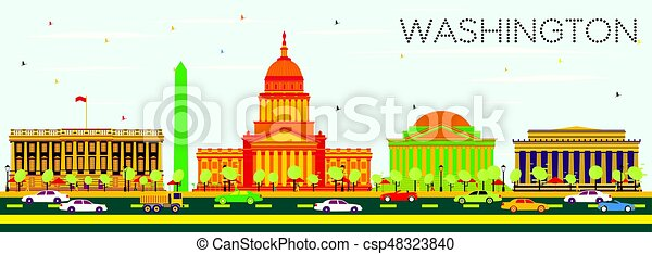 Washington DC Skyline with Color Buildings and Blue Sky. - csp48323840