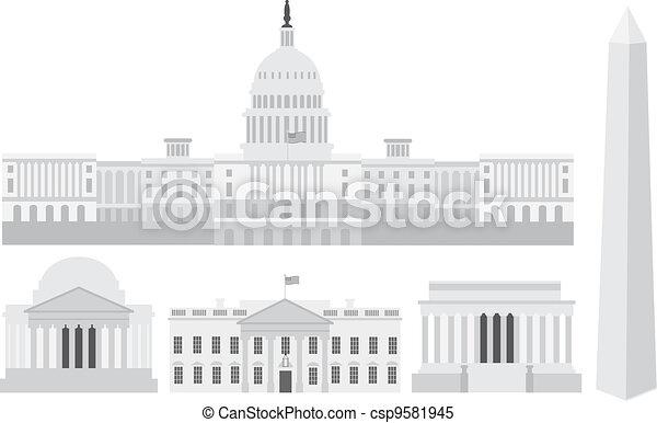 washington, gebäude, denkmäler, kapitol, dc - csp9581945
