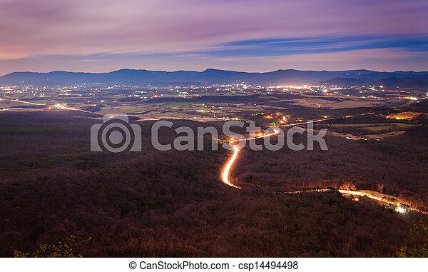 washington, nemzeti, massanutten, virginia, shenandoah, erdő, éjszaka, luray, völgy, györgy, hegy, kilátás - csp14494498