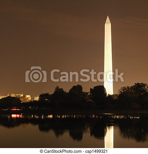 washington, night., monumento - csp1499321