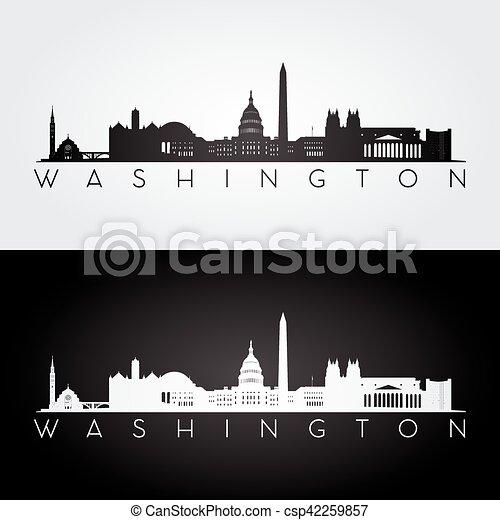 Silueta del horizonte de Washington - csp42259857