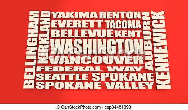 Washington state cities list - csp34481393