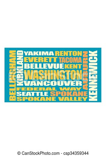 Washington state cities list  - csp34359344