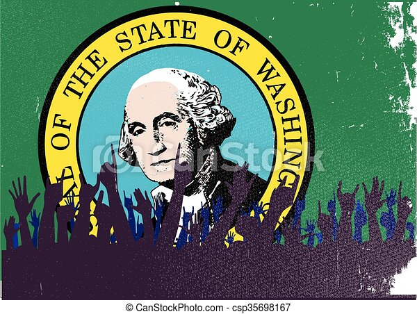 Washington State Flag with Audience - csp35698167