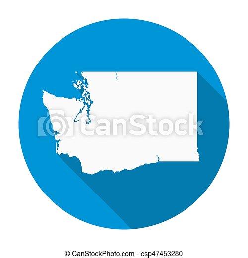 Washington State Map Flat Icon - csp47453280