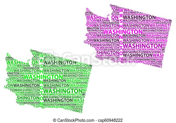 Sketch Washington State United States Of America Letter Text Map