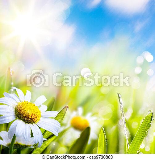 Künstliche Hintergrundblüte im Gras mit Wassertropfen am Sonnenhimmel - csp9730863