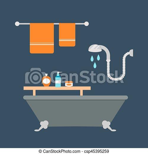 Wasser, badezimmer, satz, gefärbt, heiligenbilder, prozess ...