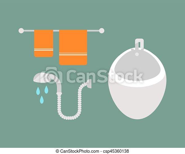 Großartig Vektor   Wasser, Badezimmer, Satz, Wäsche, Gefärbt, Schoenheit,  Heiligenbilder, Prozess, Haushalt, Bidet,