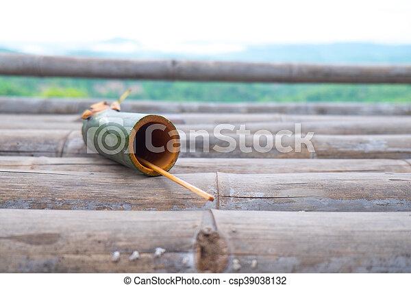Wasser Bambus Trinken Rohr Wasserstand Rohr Trinken Bambus