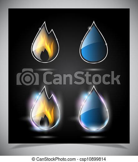 Wasser Feuer Tropfen Heiligenbilder Eps10 Feuer Tropfen Icons