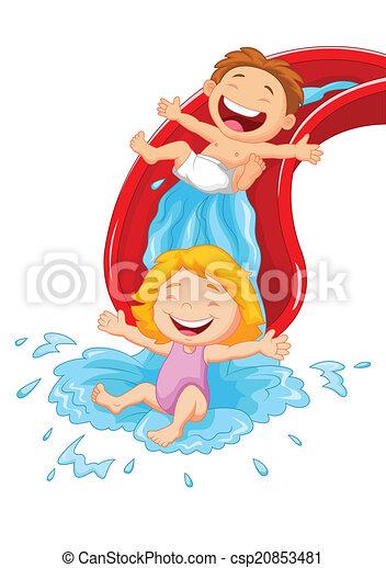 Wasser, karikatur, glücklich, kinder, sli. Abbildung ...