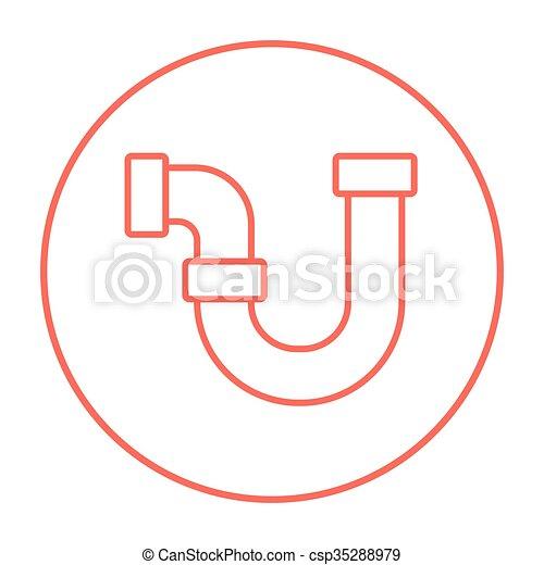 Wasser, rohrleitung, linie, icon. Rohrleitung, beweglich ...