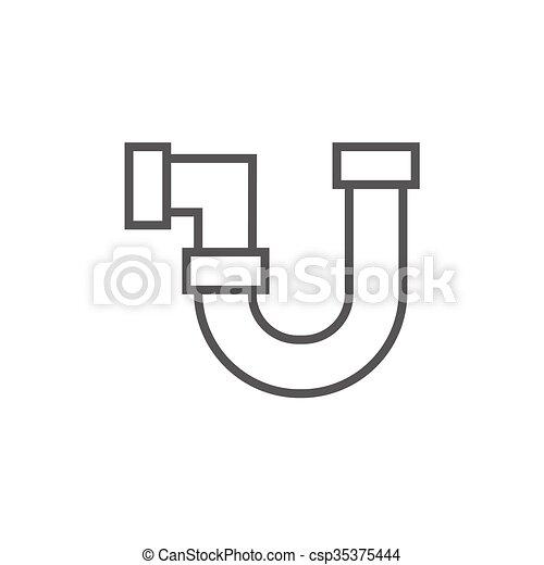 Wasser, rohrleitung, linie, icon. Rohrleitung, ränder,... EPS Vektor ...