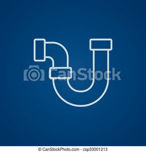 Wasser, rohrleitung, linie, icon. Blaues, rohrleitung,... Vektor ...