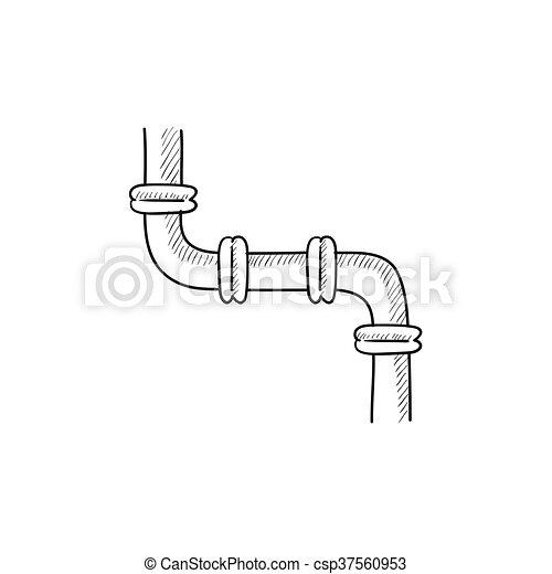 Wasser, rohrleitung, skizze, icon. Rohrleitung,... Clipart Vektor ...
