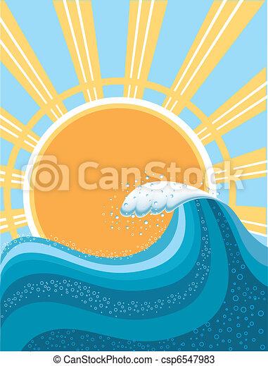 Welle im Ozean, water Hintergrund fürs Surfen mit Sonne - csp6547983