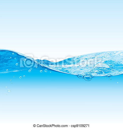 Wasserwellen-Hintergrund mit Blasen - csp9109271