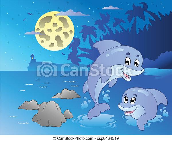 Nachtmeise mit glücklichen Delfinen - csp6464519