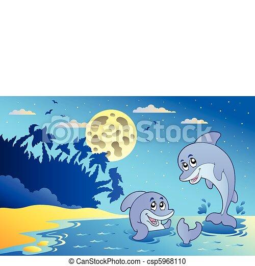 wasserlandschaft, nacht, zwei, delphine - csp5968110