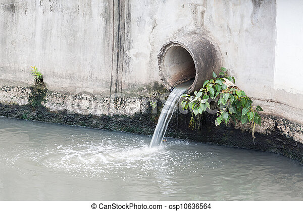 waste pipe or drainage polluting environment, concrete pipe.  - csp10636564