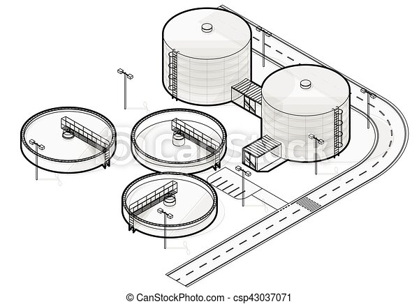 Wastewater Treatment Plant In Stylized Outline Vector