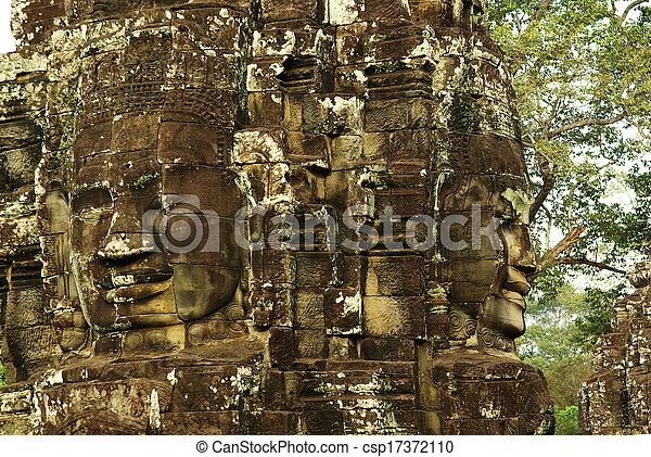 wat , πέτρα , αρχαίος , καμπότζη , γλύφω , αντικρύζω , κρόταφος , angkor  - csp17372110