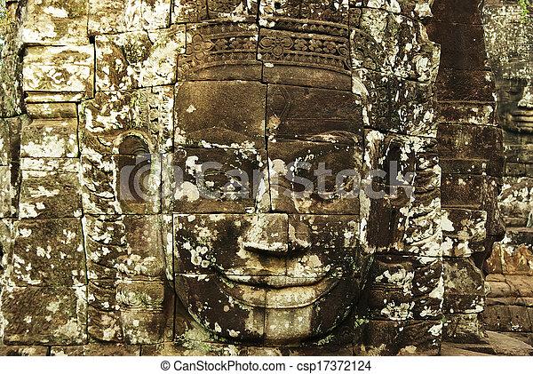 wat , πέτρα , αρχαίος , καμπότζη , γλύφω , αντικρύζω , κρόταφος , angkor  - csp17372124