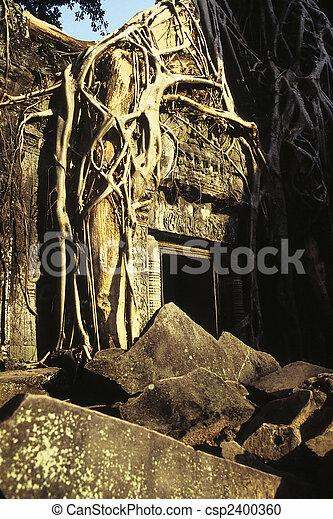 wat angkor, ruins-, cambodge - csp2400360