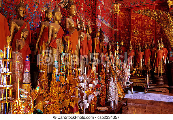 Wat Xieng Thong is a Buddhist temple (wat), located on the northern tip of the peninsula of Luang Phrabang, Laos. It was built in 1560 by King Setthathirath and was under royal patronage during the K - csp2334357