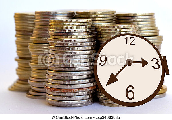 Watch and coins .Time is money . - csp34683835