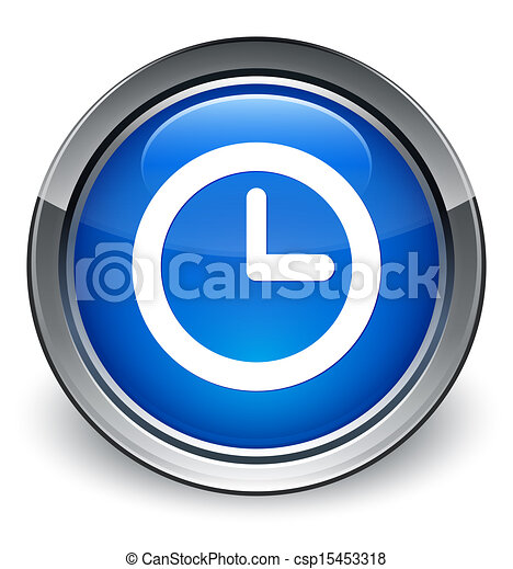 Watch icon glossy blue button - csp15453318