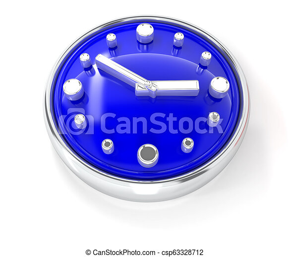 Watch icon on glossy blue round button - csp63328712