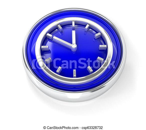 Watch icon on glossy blue round button - csp63328732