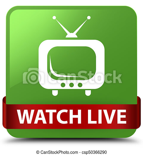 Watch live soft green square button red ribbon in middle - csp50366290
