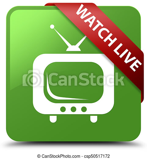 Watch live soft green square button red ribbon in corner - csp50517172