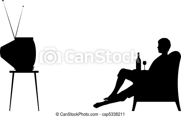 watching tv clipart black and white. vector - watching tv tv clipart black and white n