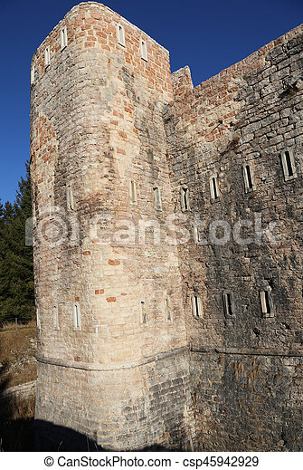 watchtower of an ancient fortress used by soldiers during the First World War near Asiago city in Northern Italy