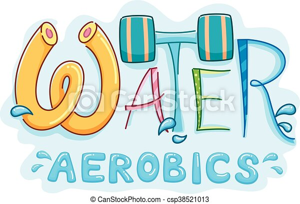 Typography illustration featuring the words water aerobics.
