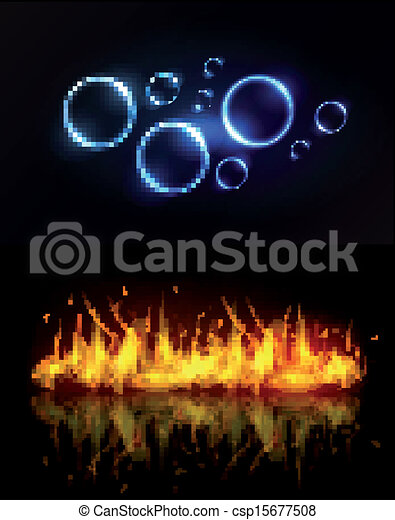 Water and fire background - csp15677508
