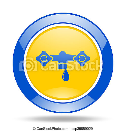 water blue and yellow web glossy round icon - csp39859029