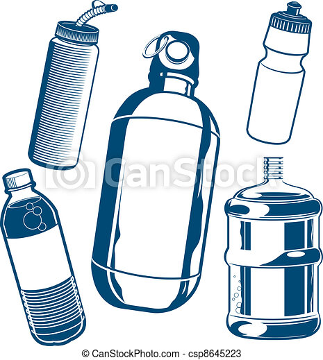 water bottle collection clip art of various types of water rh canstockphoto com Potion Bottle Clip Art Glass Bottle Clip Art