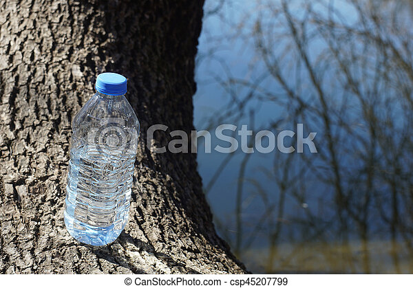 Water bottle on a background of tree bark - csp45207799