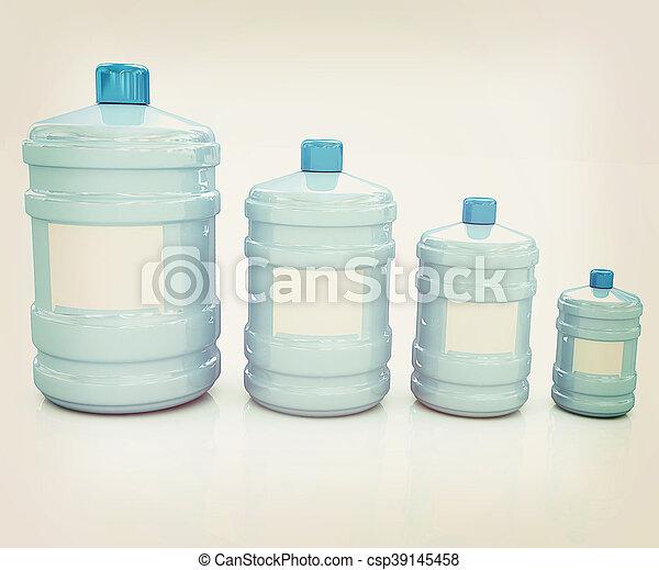 water bottles. 3D illustration. Vintage style. - csp39145458