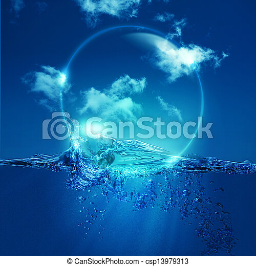 Water bubble over ocean wave, environmental backgrounds - csp13979313