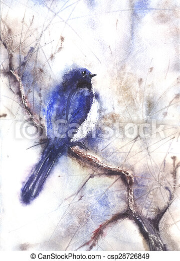 Water color drawing of a bird - csp28726849